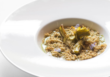 Italian springtime vegetables - Artichokes with hazelnuts, Taggiasca Extra virgin olive oil, and Maldon salt - © Villa della Pergola