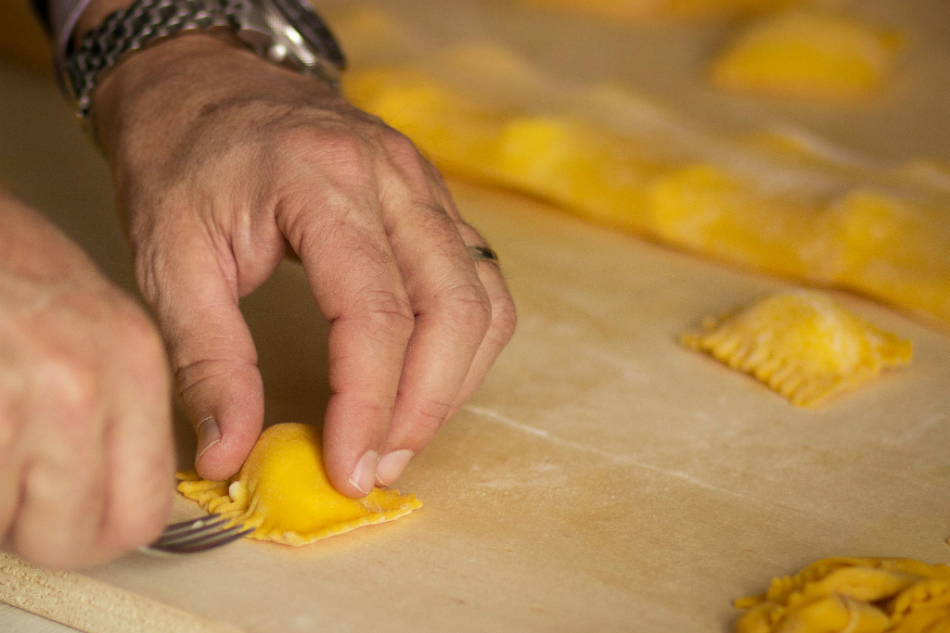 Making stuffed pasta, tortelli di patate - by tamara mambelli
