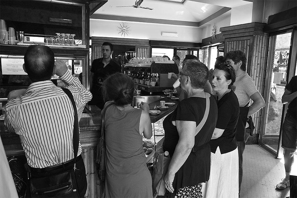 Getting caffè at an Italian bar