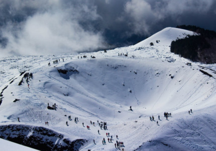 Italian winter vacation: Mt. Etna's crater in the winter
