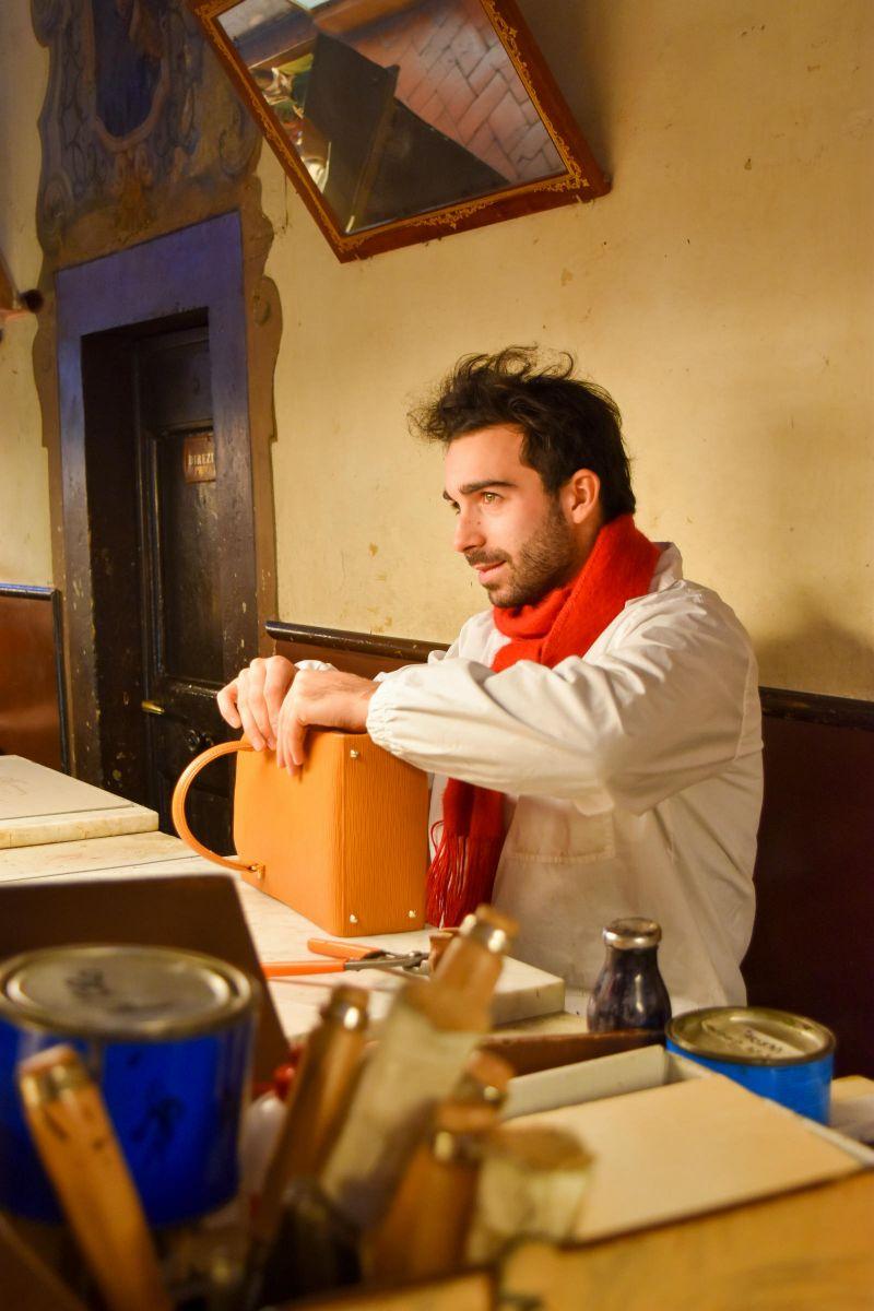 Leather craftsman, Scuola del Cuoio, Santa Croce, Florence - by Gwendolyn Stansbury