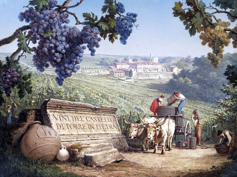 Farmers make wine on a stop of the Grand Tour