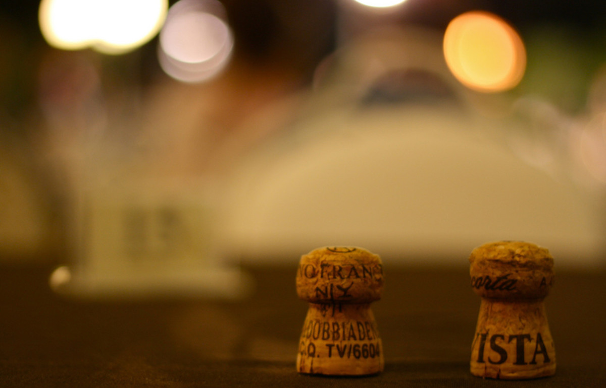 two corks in the forefront