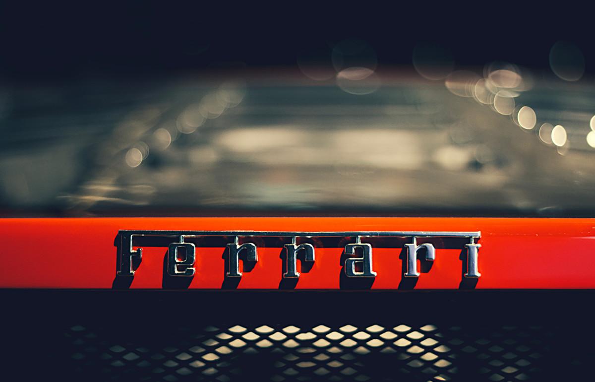 Ferrari logo on the back of a car