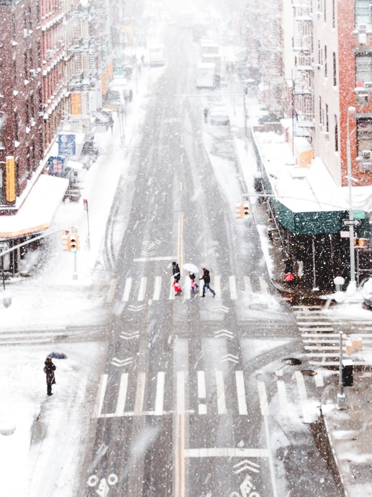 birds eye view of a blizzard in NYC's Chinatown