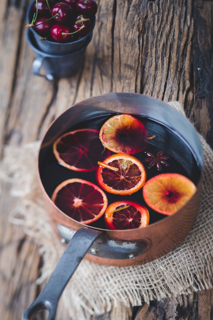 spiced wine in a copper pot