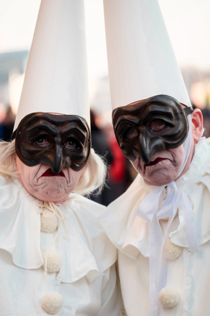 a masked couple at Venice Carnival