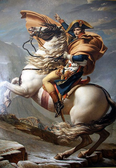 Bonaparte crossing the Alps at the St. Bernard Pass, painting by Jaques-Louis David