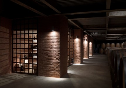 the lit up cellar of Feudi di San Gregorio