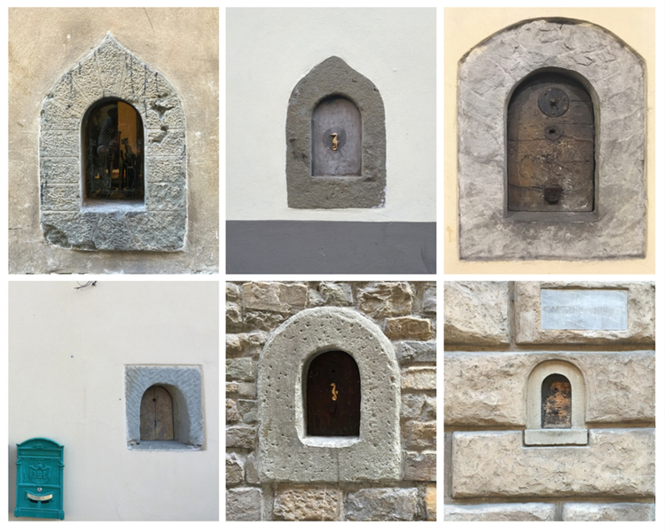 A collage of six buchette in Florence