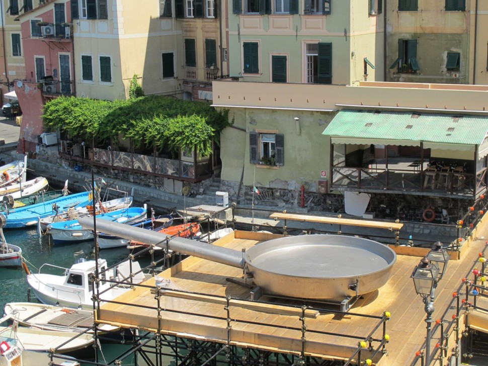 A giant metal frying pan at an Italian food festival in Camogli