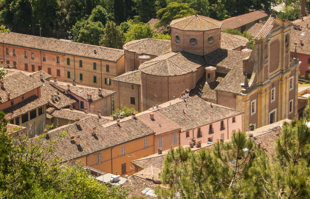 an aerial view of Brisighella, one of the art cities in Emilia-Romagna