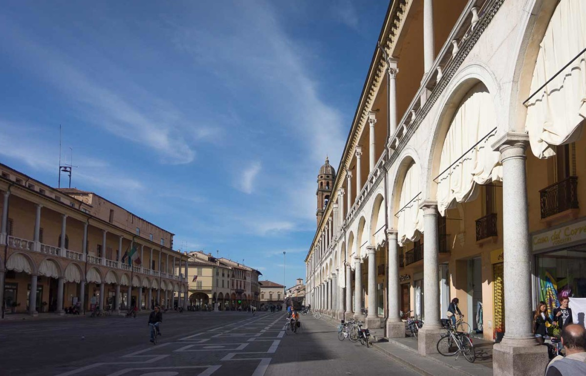 A wide-angle view of the main street in Faenza, one of the art cities in Emilia-Romagna