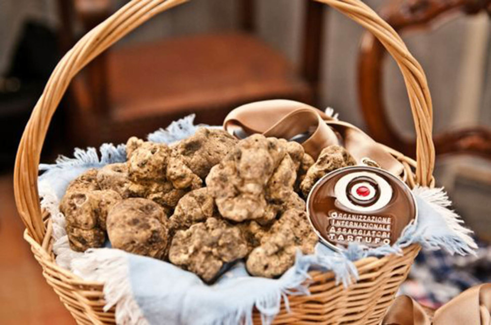 a basket of white truffles