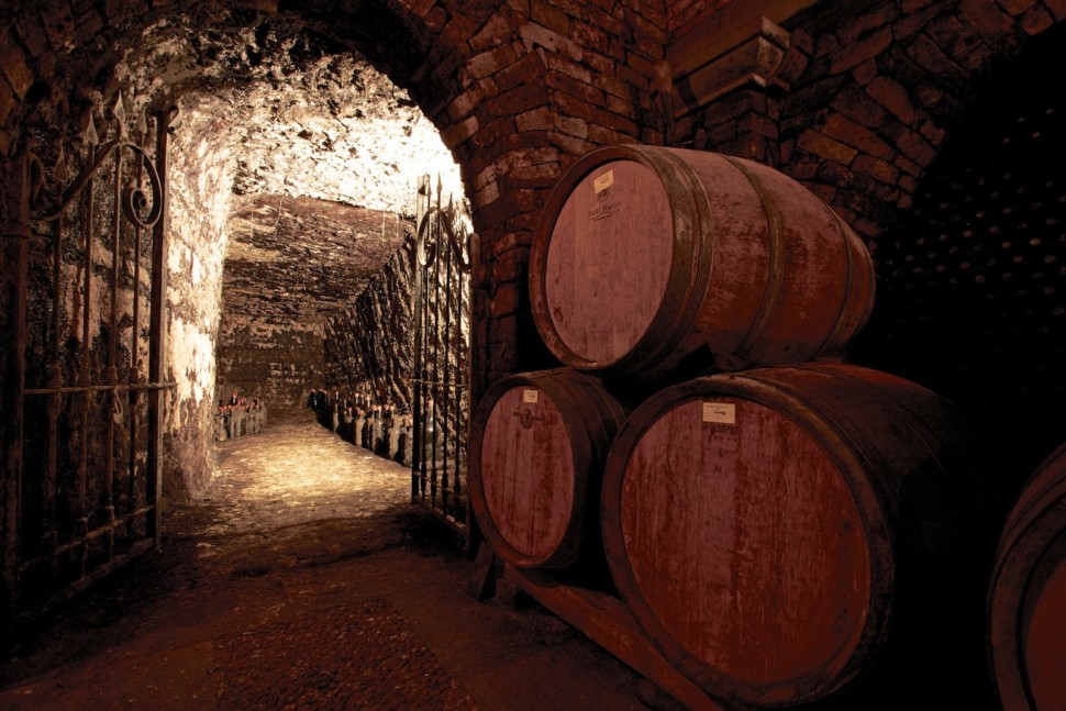 historic wine cellars at a winery in Italy